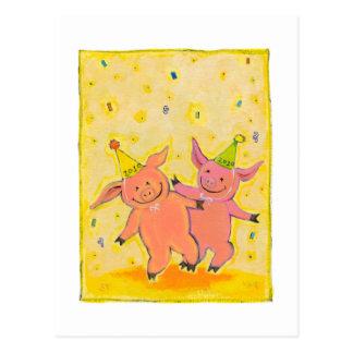 Titulado:  2010 cerdos - PERSONALIZAR del Año Nuev Tarjetas Postales