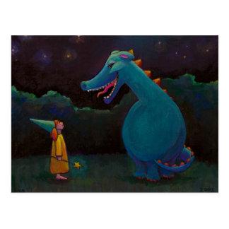 Titulado:  Alicia - mago del dragón y de la niña Tarjeta Postal