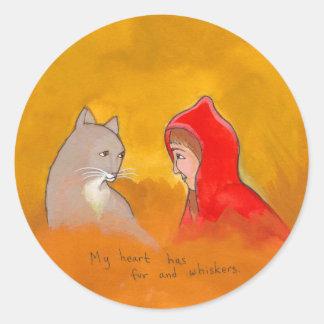 Titulado:  Animales - chica y gato - pintura única Pegatina Redonda