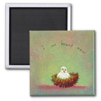 Titulado:  Arte minúsculo #536 (pájaro a estrenar) Imán Cuadrado