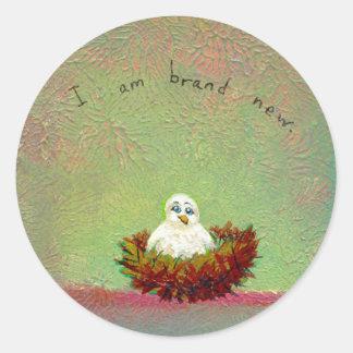 Titulado:  Arte minúsculo #536 (pájaro a estrenar) Pegatina Redonda
