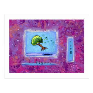 Titulado:  Arte minúsculo #597 - árbol.  Aviador. Postal
