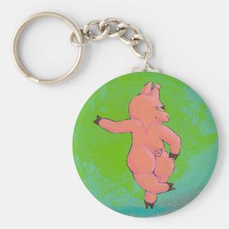 Titulado:  Cerdo irlandés evasivo del baile Llavero Redondo Tipo Pin