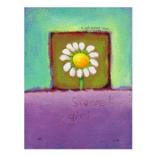 Titulado: Chica dulce - el cuidar de la flor los p Tarjetas Postales