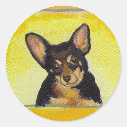 Titulado:  Chihuahua valiente de la diversión de Pegatina Redonda