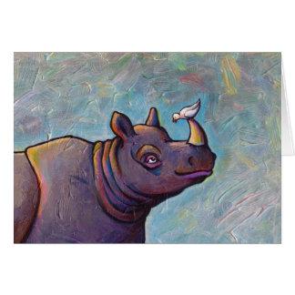 Titulado:  Chisme - arte del pájaro del rinoceront Tarjeta De Felicitación