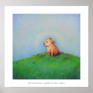 Titulado Cielo - perro de perrito de oro hermoso Posters