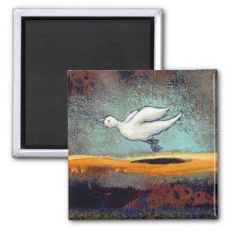 Titulado:  Dos pájaros - arte emocional único del Imán Cuadrado