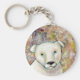 Titulado:  El Brutus es un perro feliz Llavero Redondo Tipo Pin