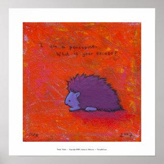 Titulado:  Espinoso - arte colorido del puerco Póster