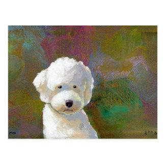 Titulado: Estoy pensando en él - el perro blanco a Tarjetas Postales