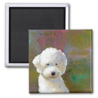 Titulado: Estoy pensando en él - el perro blanco Imán Cuadrado