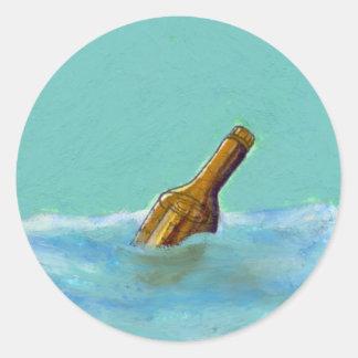 Titulado:  Mensaje - botella en el ARTE del dibujo Pegatina Redonda