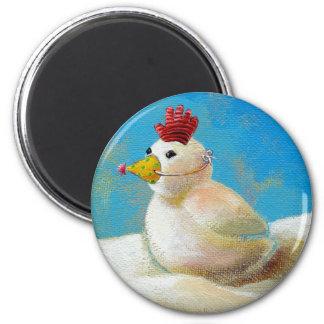 Titulado:  ¡Pájaros de la nieve - arte del pollo Imán Redondo 5 Cm