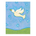 Titulado:  Paz y amor - el pájaro de la paloma LO  Tarjeta Postal