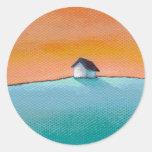 Titulado:  Poca casa en la colina - paisaje del Etiquetas Redondas