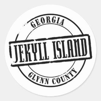 Título de la isla de Jekyll Pegatina Redonda