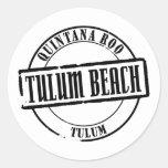 Título de la playa de Tulum Pegatina Redonda