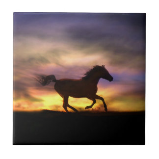 Título del arte del caballo azulejo cuadrado pequeño
