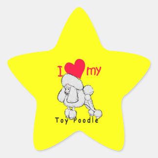 Título del caniche de juguete calcomanías forma de estrella