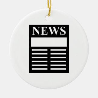 Títulos de las noticias adorno navideño redondo de cerámica