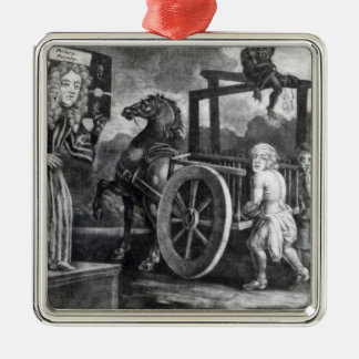 Titus Oates on the third day of his punishment Square Metal Christmas Ornament
