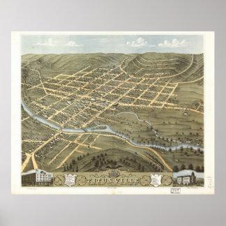 Titusville Pennsylvania 1871 Antique Panoramic Map Poster