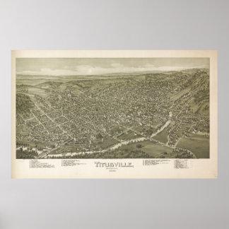 Titusville Pennsylvania 1896 Antique Panoramic Map Poster