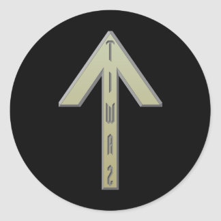 Tiwaz Rune gold Classic Round Sticker