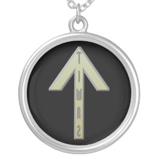 Tiwaz Rune gold Silver Plated Necklace
