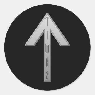 Tiwaz Rune grey Classic Round Sticker