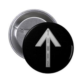 Tiwaz Rune grey Pinback Button