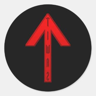 Tiwaz Rune red Classic Round Sticker