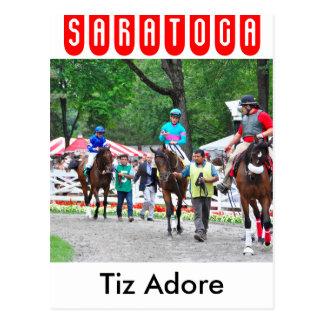 Tiz Adore and Que Chulo in the Saratoga Paddock Postcard