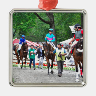 Tiz Adore and Que Chulo in the Saratoga Paddock Square Metal Christmas Ornament