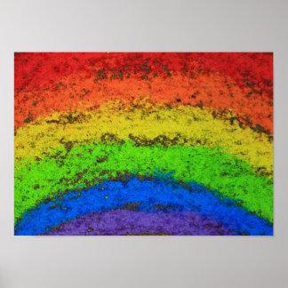 Tiza de la acera del arco iris del Grunge de ROYGB Impresiones