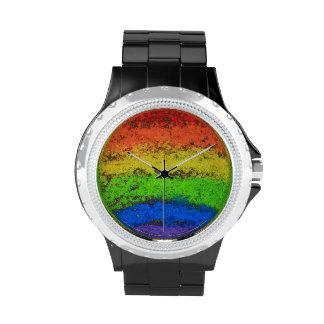 Tiza de la acera del arco iris del Grunge Relojes De Pulsera