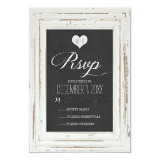 """Tiza rústica blanca del marco que casa la tarjeta invitación 3.5"""" x 5"""""""