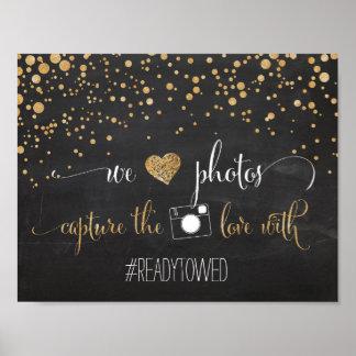 Tiza y muestra de la etiqueta del hachís del boda póster