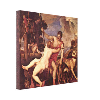 Tiziano Vecelli - Venus and Adonis Gallery Wrapped Canvas