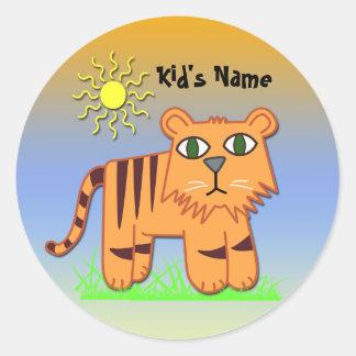 TJ the Tiger Cute Kid's Round Sticker