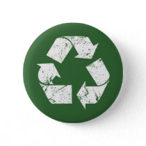 TJED Vintage White Recycle Sign On Green Pinback Button