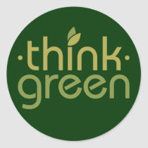 TJEDtxt Think Green Classic Round Sticker