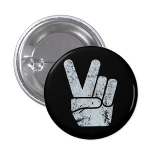 TJP Vintage Black Peace Sign Hand 1 Inch Round Button
