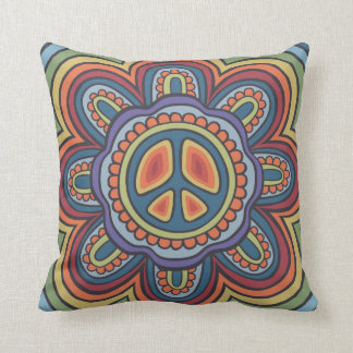 TJP Vintage Colors Peace Flower Hippie Throw Pillow