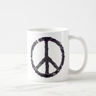 TJP Worn Black Peace Symbol Coffee Mug