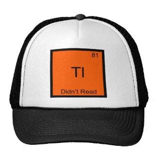 TL; Símbolo TLDR divertido del elemento de la quím Gorros Bordados
