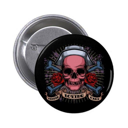 TLC Nurse Skull Button