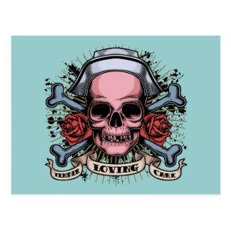 TLC Nurse Skull Postcard