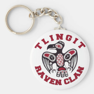 Tlingit Raven Clan Basic Round Button Keychain